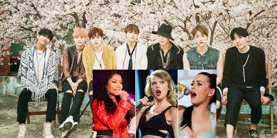 BTS, Taylor Swift, Nicki Minaj, Katy Perry, Rihanna