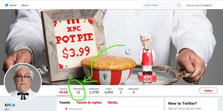 KFC Is Only Following 11 People On Twitter
